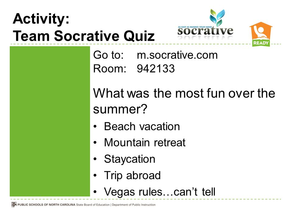 Activity: Team Socrative Quiz Go to: m.socrative.com Room:942133 What was the most fun over the summer? Beach vacation Mountain retreat Staycation Tri