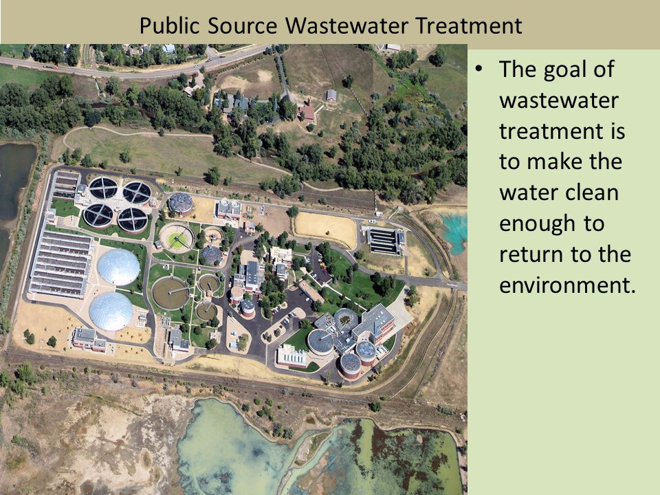 Public Source Wastewater Treatment The goal of wastewater treatment is to make the water clean enough to return to the environment.