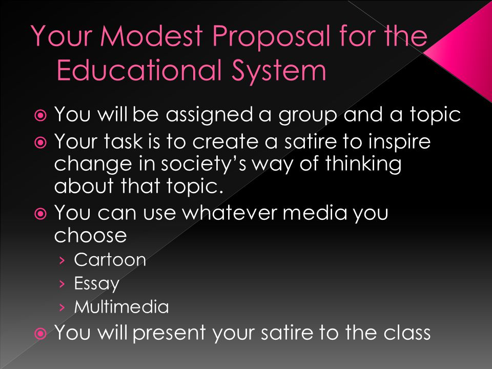  You will be assigned a group and a topic  Your task is to create a satire to inspire change in society's way of thinking about that topic.  You ca