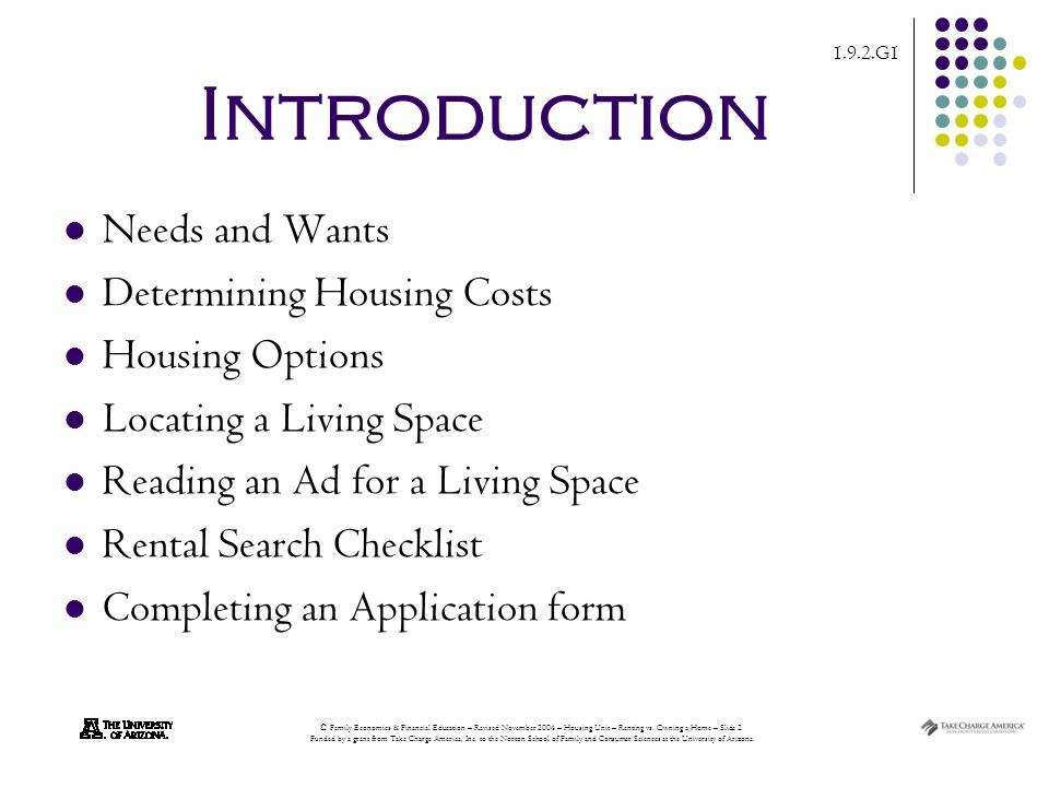 1.9.2.G1 © Family Economics & Financial Education – Revised November 2004 – Housing Unit – Renting vs.