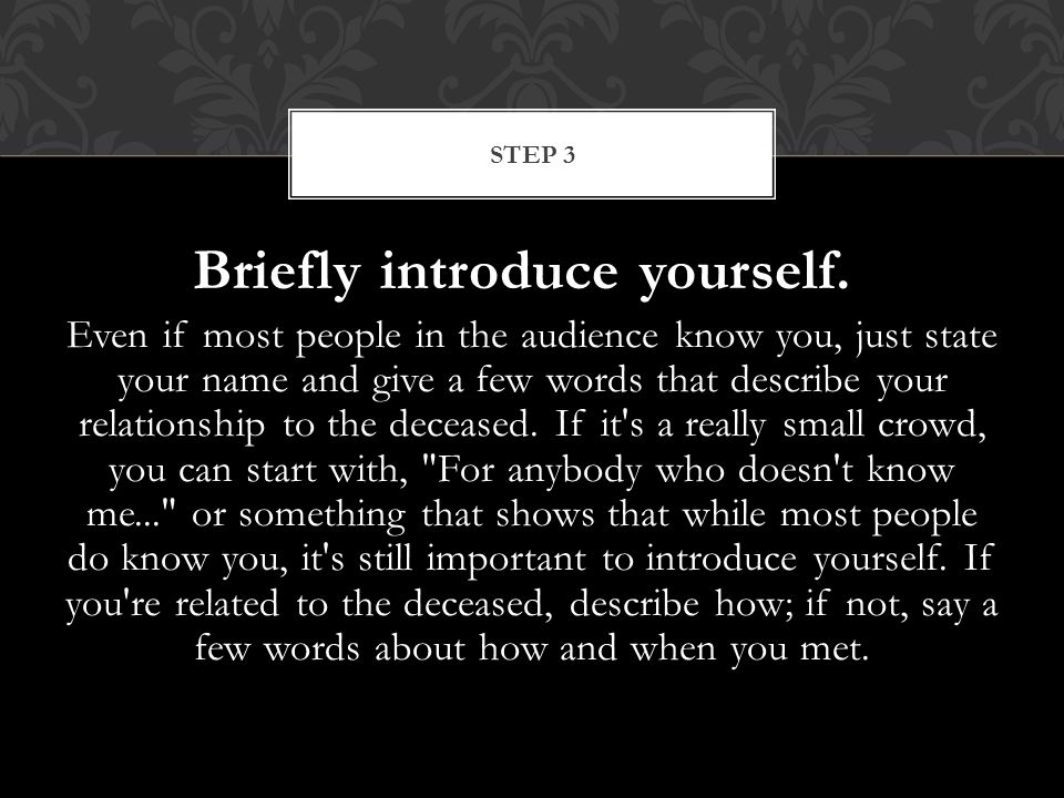 Briefly introduce yourself.
