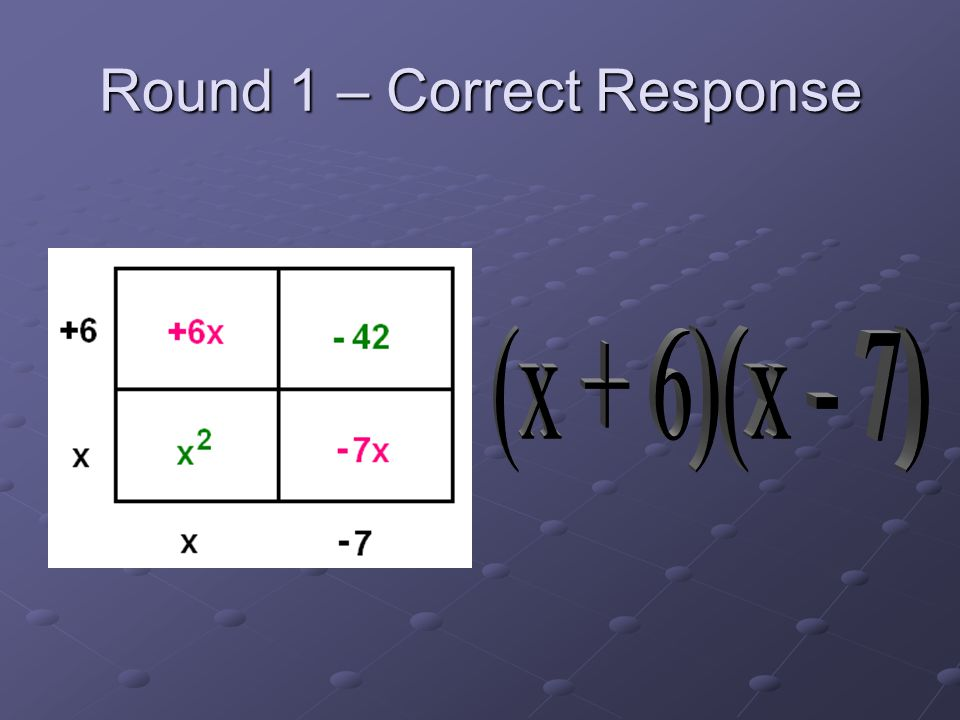 Round 1 – Correct Response