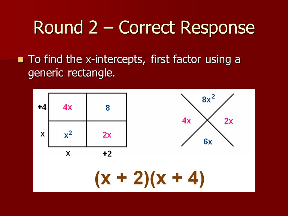 Round 2 – Correct Response To find the x-intercepts, first factor using a generic rectangle.