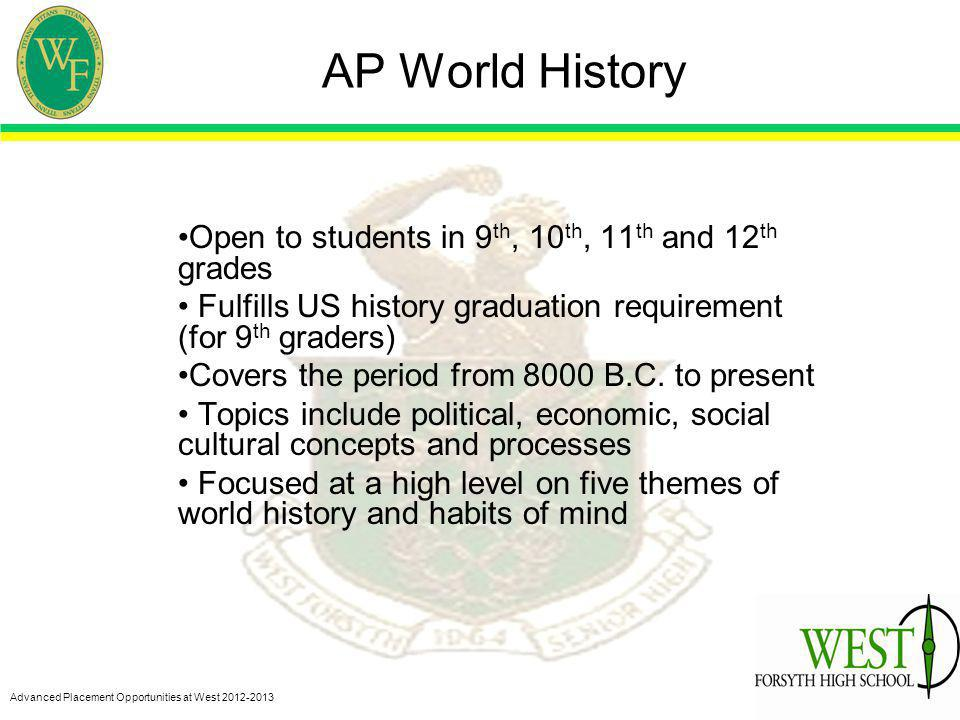 Advanced Placement Opportunities at West 2012-2013 AP World History Open to students in 9 th, 10 th, 11 th and 12 th grades Fulfills US history graduation requirement (for 9 th graders) Covers the period from 8000 B.C.
