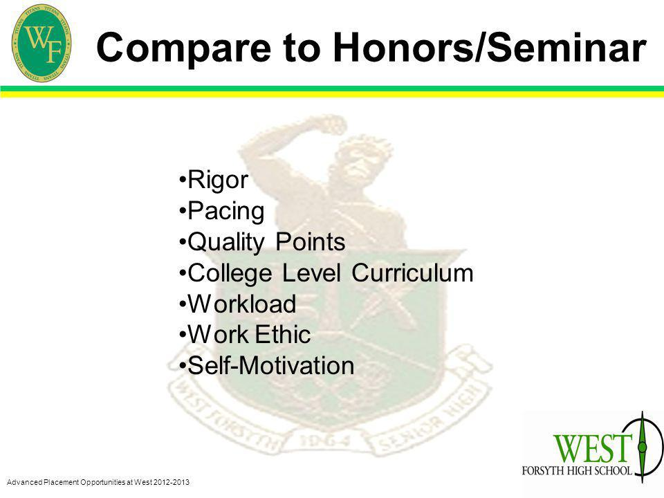 Advanced Placement Opportunities at West 2012-2013 Compare to Honors/Seminar Rigor Pacing Quality Points College Level Curriculum Workload Work Ethic Self-Motivation