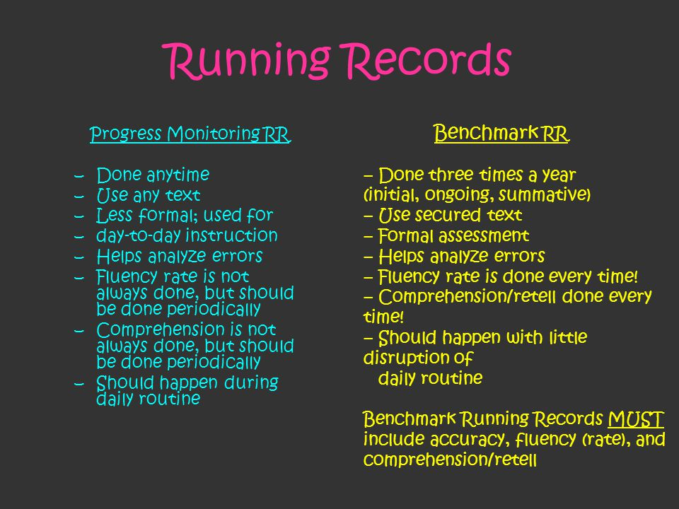 Running Records Progress Monitoring RR –Done anytime –Use any text –Less formal; used for –day-to-day instruction –Helps analyze errors –Fluency rate is not always done, but should be done periodically –Comprehension is not always done, but should be done periodically –Should happen during daily routine Benchmark RR – Done three times a year (initial, ongoing, summative) – Use secured text – Formal assessment – Helps analyze errors – Fluency rate is done every time.