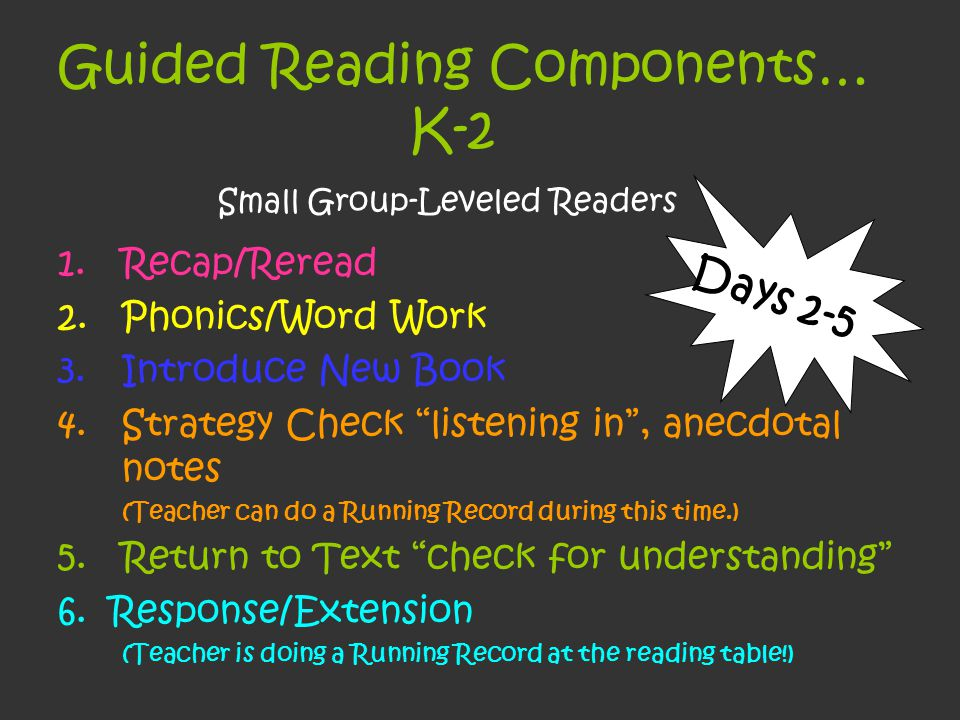 Guided Reading Components… K-2 Small Group-Leveled Readers 1.Recap/Reread 2.Phonics/Word Work 3.Introduce New Book 4.Strategy Check listening in , anecdotal notes (Teacher can do a Running Record during this time.) 5.Return to Text check for understanding 6.