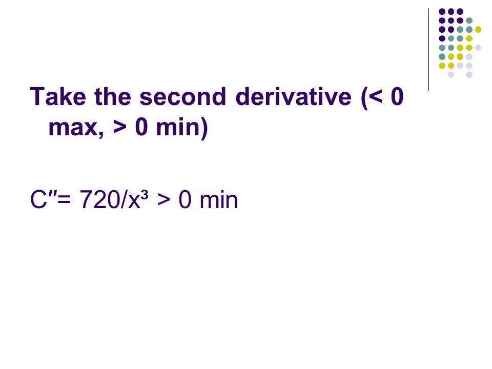 Take the second derivative ( 0 min) C′′= 720/x³ > 0 min