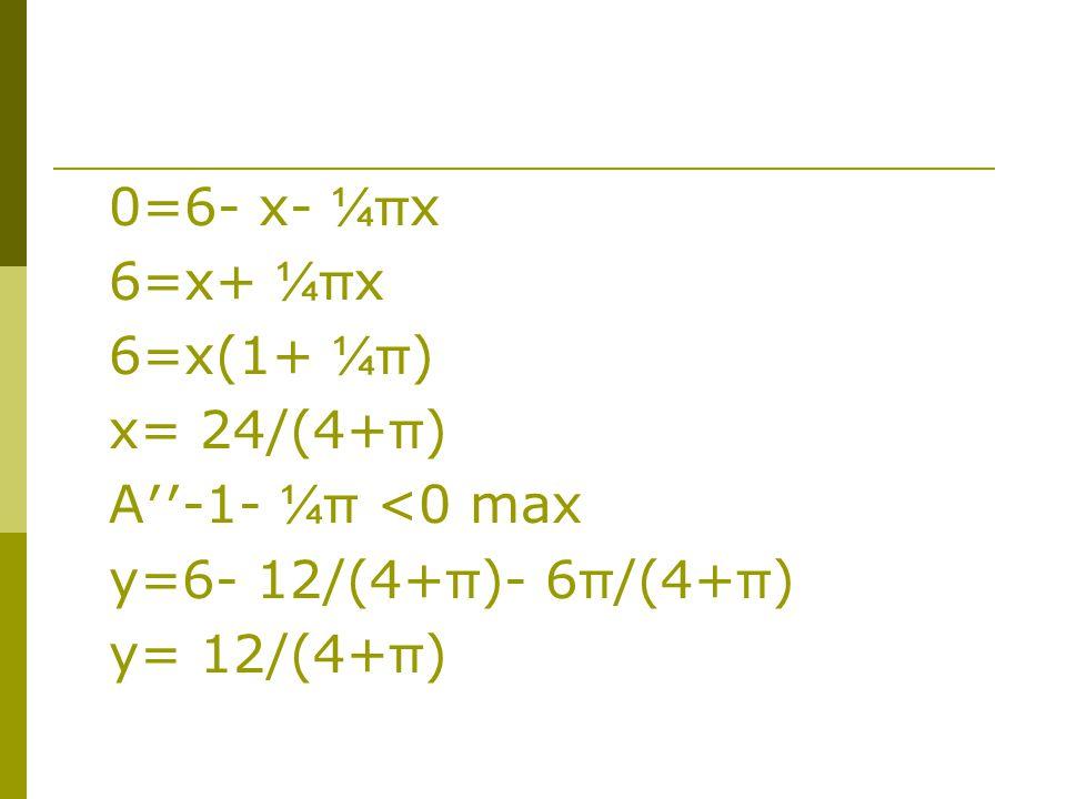 0=6- x- ¼π x 6=x+ ¼π x 6=x(1+ ¼π ) x= 24/(4+ π ) A′′-1- ¼π <0 max y=6- 12/(4+ π )- 6 π /(4+ π ) y= 12/(4+ π )