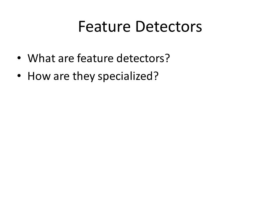 Feature Detectors What are feature detectors? How are they specialized?