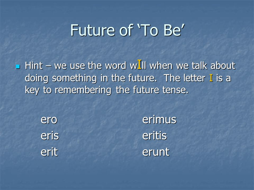 Future of 'To Be' Hint – we use the word w I ll when we talk about doing something in the future.