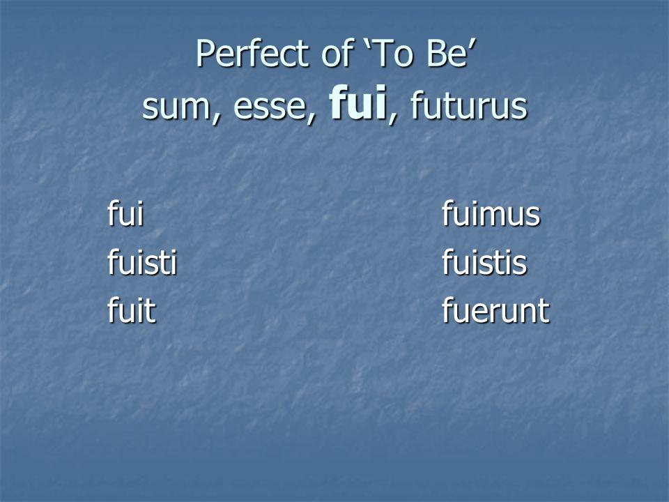 Perfect of 'To Be' sum, esse, fui, futurus fuifuimus fuistifuistis fuitfuerunt