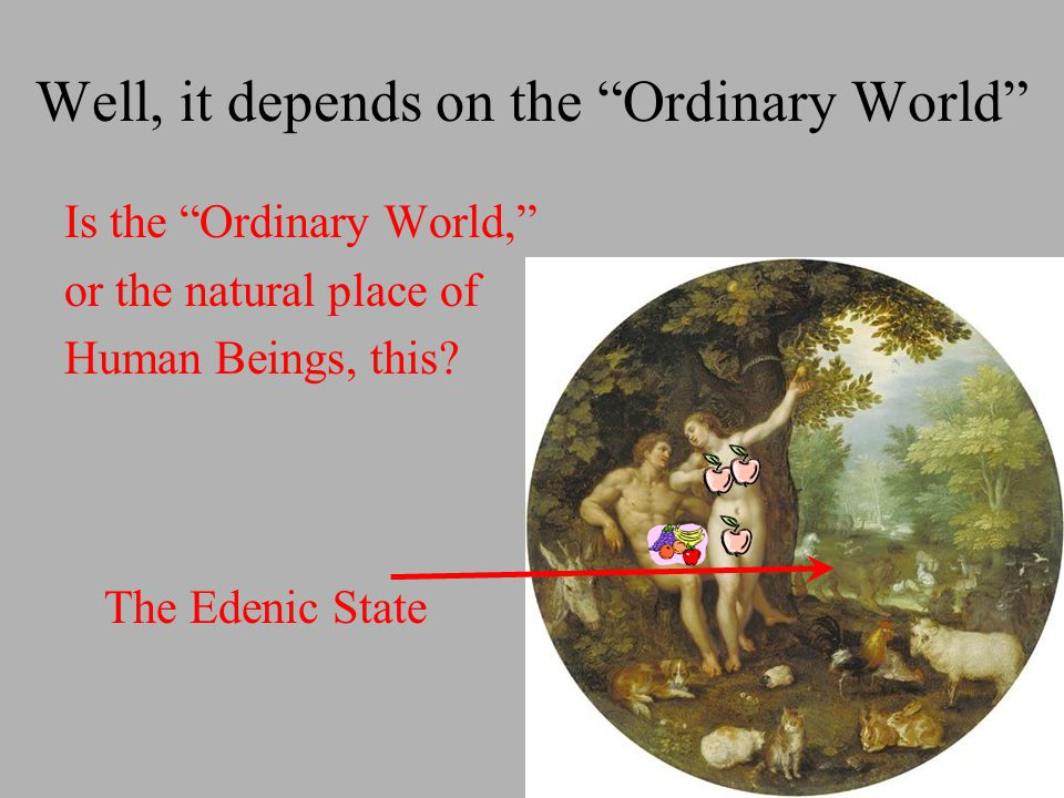 Is the Ordinary World, or the natural place of Human Beings, this.