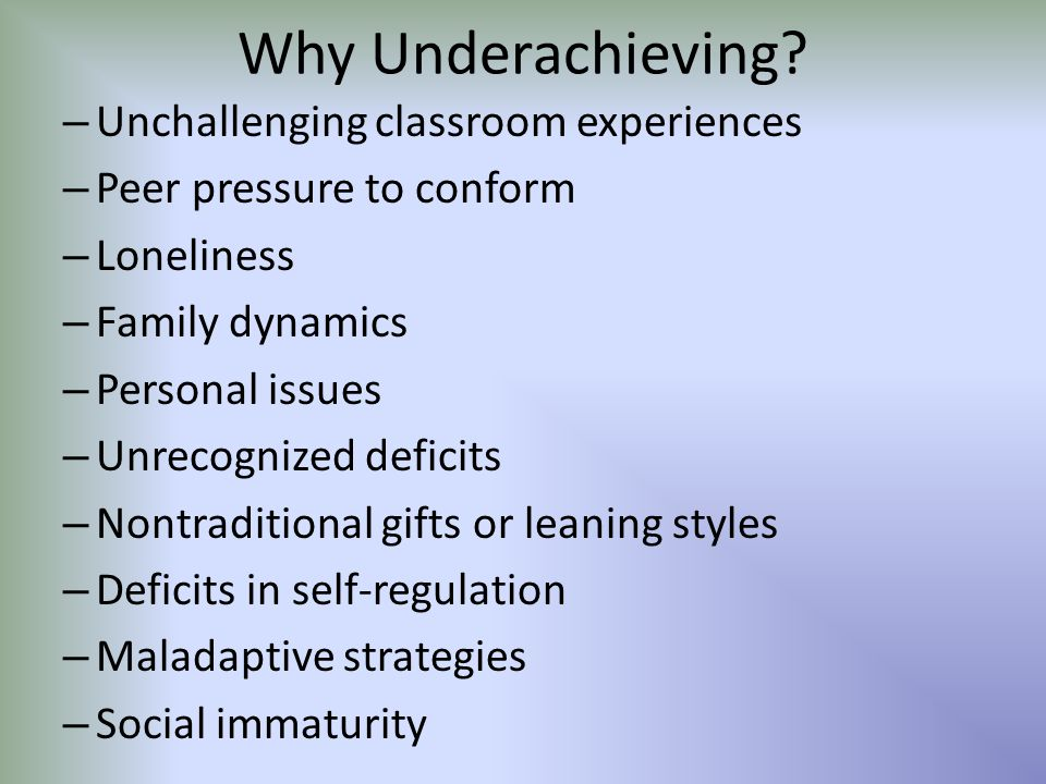 Why Underachieving.