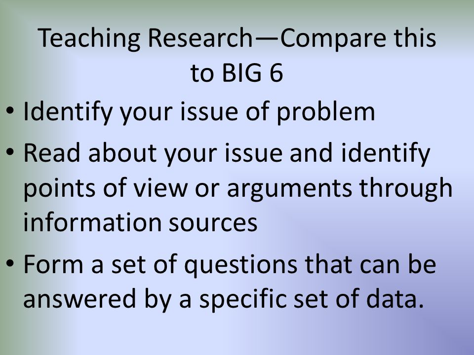 Teaching Research—Compare this to BIG 6 Identify your issue of problem Read about your issue and identify points of view or arguments through informat