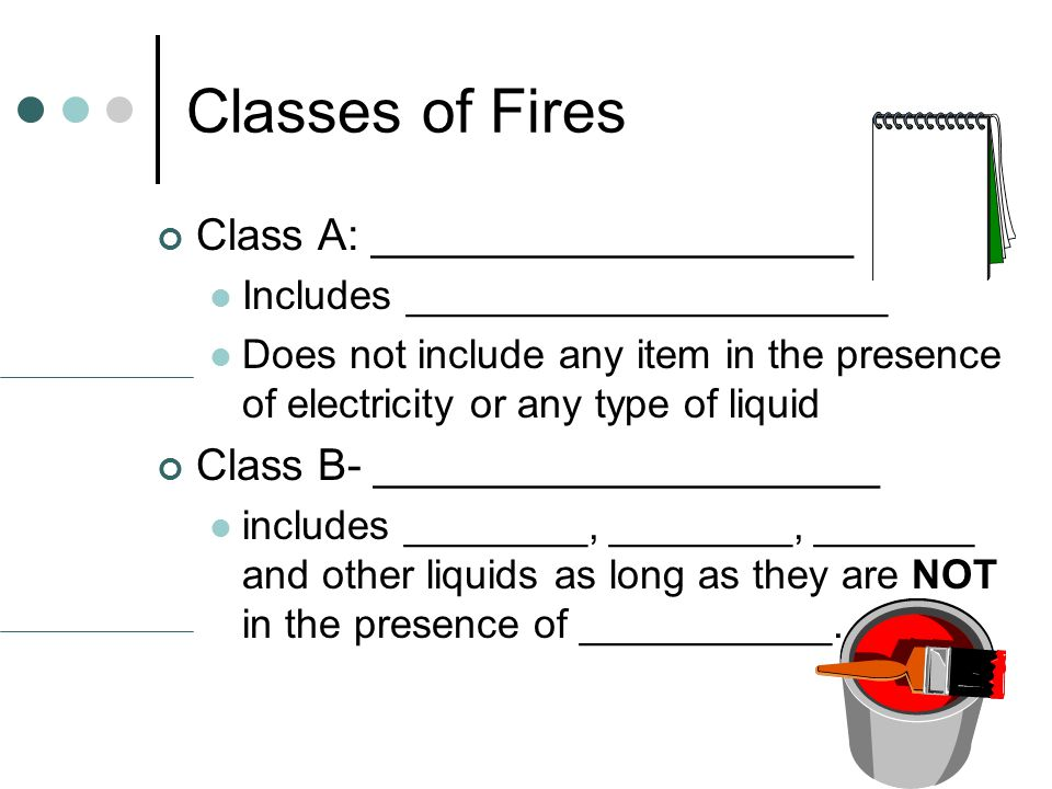Classes of Fires Class A: ____________________ Includes _____________________ Does not include any item in the presence of electricity or any type of liquid Class B- _____________________ includes ________, ________, _______ and other liquids as long as they are NOT in the presence of ___________.