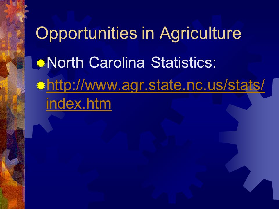 Opportunities in Agriculture  North Carolina Statistics:  http://www.agr.state.nc.us/stats/ index.htm http://www.agr.state.nc.us/stats/ index.htm