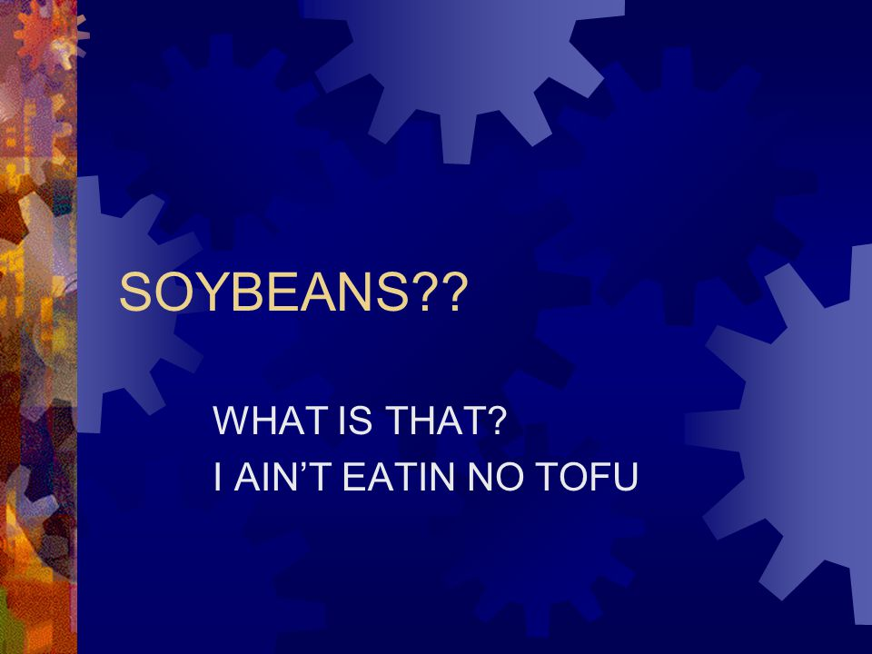 SOYBEANS?? WHAT IS THAT? I AIN'T EATIN NO TOFU