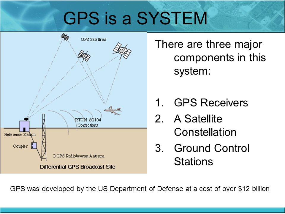 GPS is a SYSTEM There are three major components in this system: 1.GPS Receivers 2.A Satellite Constellation 3.Ground Control Stations GPS was developed by the US Department of Defense at a cost of over $12 billion