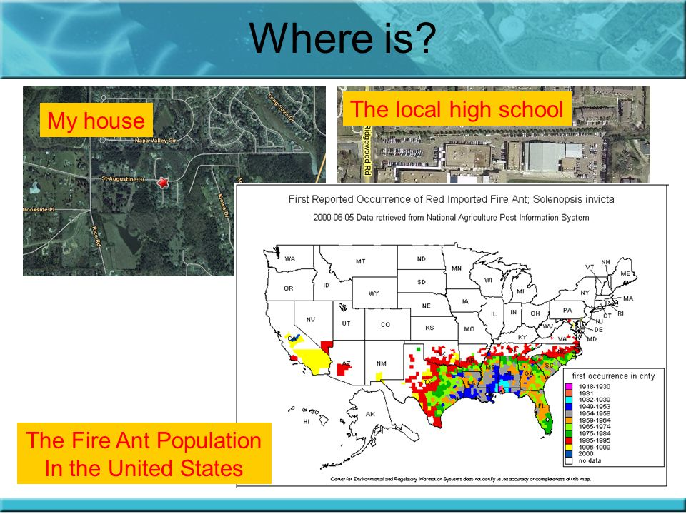 Where is? My house The local high school The Fire Ant Population In the United States