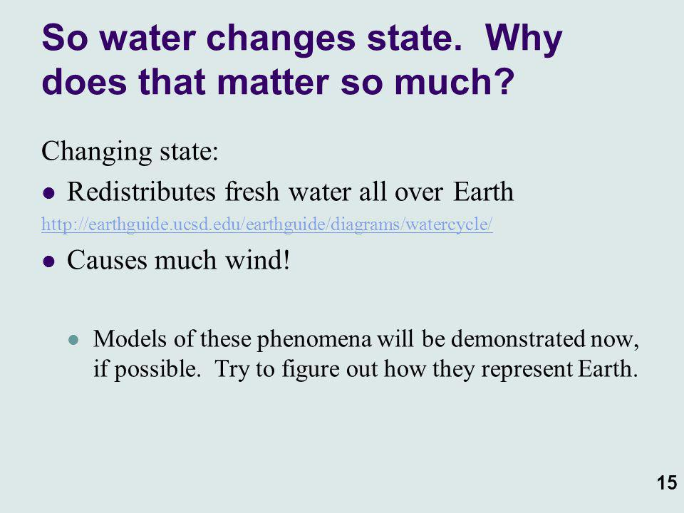 15 So water changes state. Why does that matter so much? Changing state: Redistributes fresh water all over Earth http://earthguide.ucsd.edu/earthguid