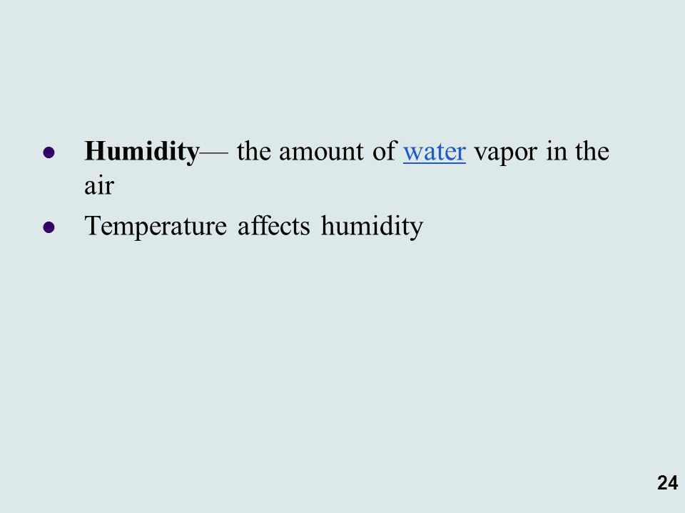 24 Humidity— the amount of water vapor in the air Temperature affects humidity