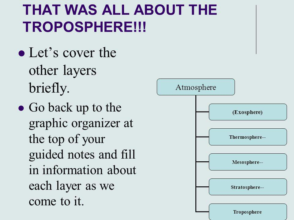 26 THAT WAS ALL ABOUT THE TROPOSPHERE!!! Let's cover the other layers briefly. Go back up to the graphic organizer at the top of your guided notes and