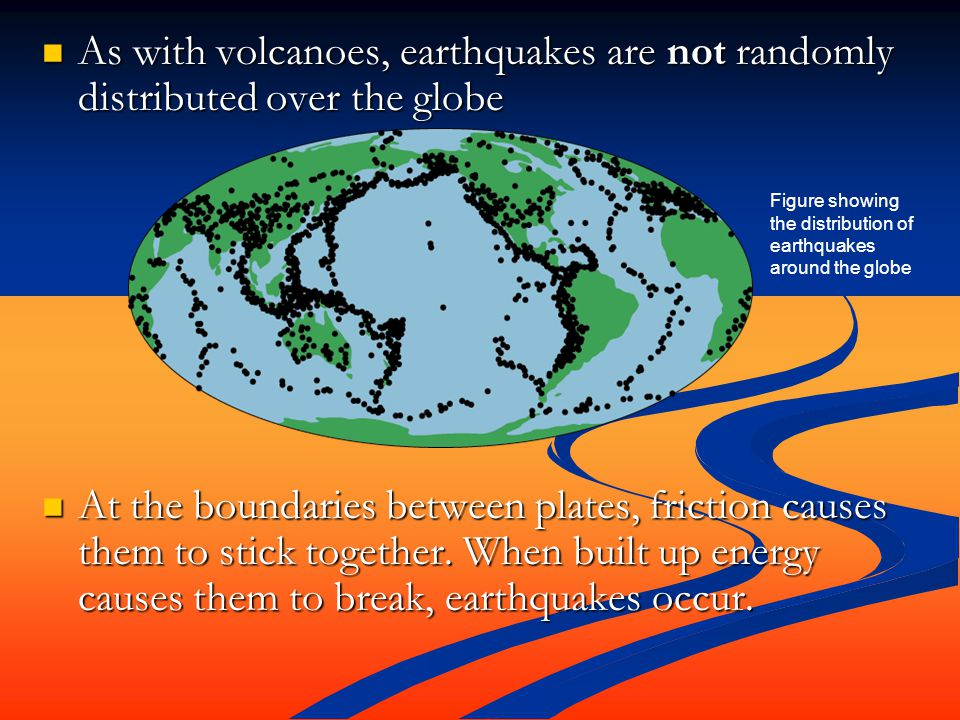 As with volcanoes, earthquakes are not randomly distributed over the globe As with volcanoes, earthquakes are not randomly distributed over the globe At the boundaries between plates, friction causes them to stick together.