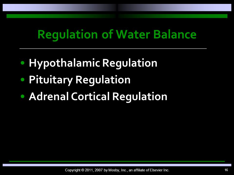 16 Regulation of Water Balance Hypothalamic Regulation Pituitary Regulation Adrenal Cortical Regulation Copyright © 2011, 2007 by Mosby, Inc., an affiliate of Elsevier Inc.
