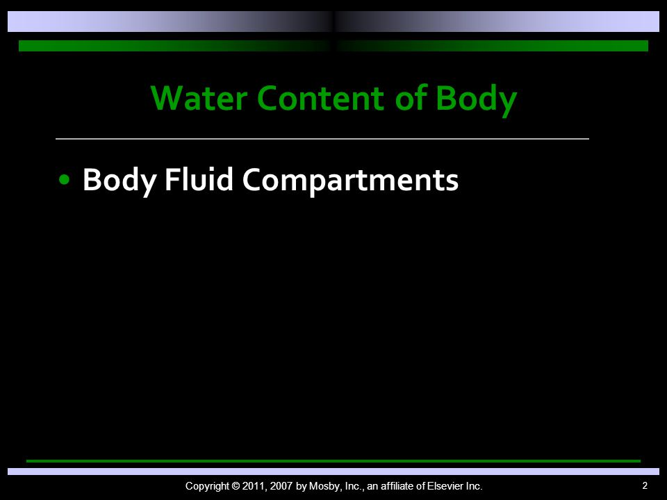 2 Water Content of Body Body Fluid Compartments Copyright © 2011, 2007 by Mosby, Inc., an affiliate of Elsevier Inc.