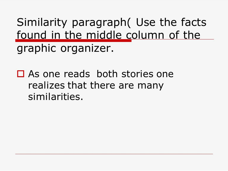 Similarity paragraph( Use the facts found in the middle column of the graphic organizer.  As one reads both stories one realizes that there are many