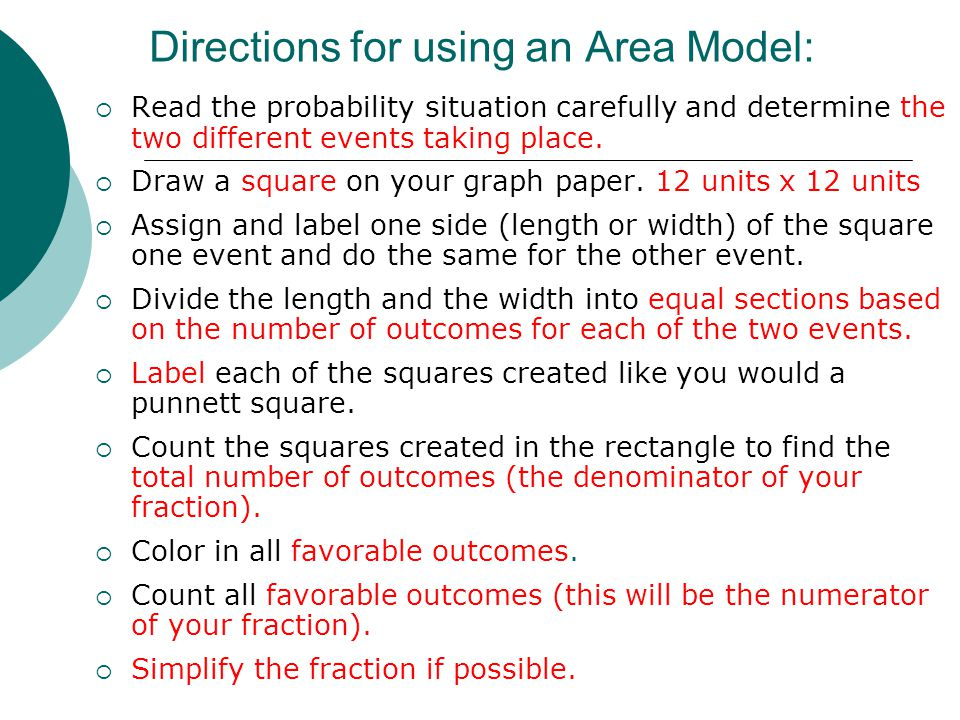 Area Model Example #1 Chris is rolling two number cubes and then finding the sum of the two results.