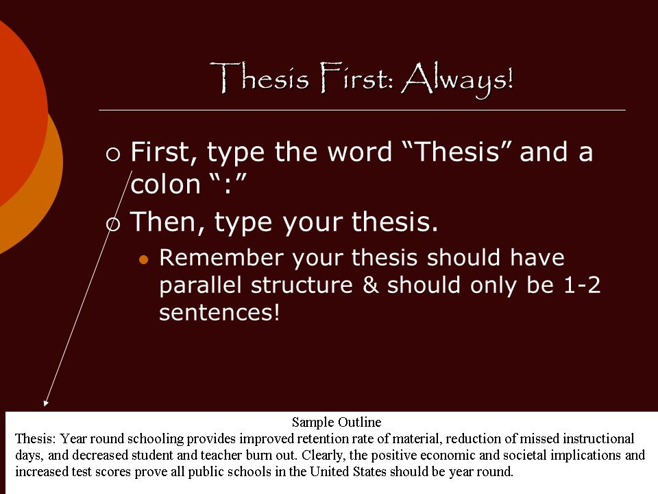 Thesis First: Always.  First, type the word Thesis and a colon :  Then, type your thesis.