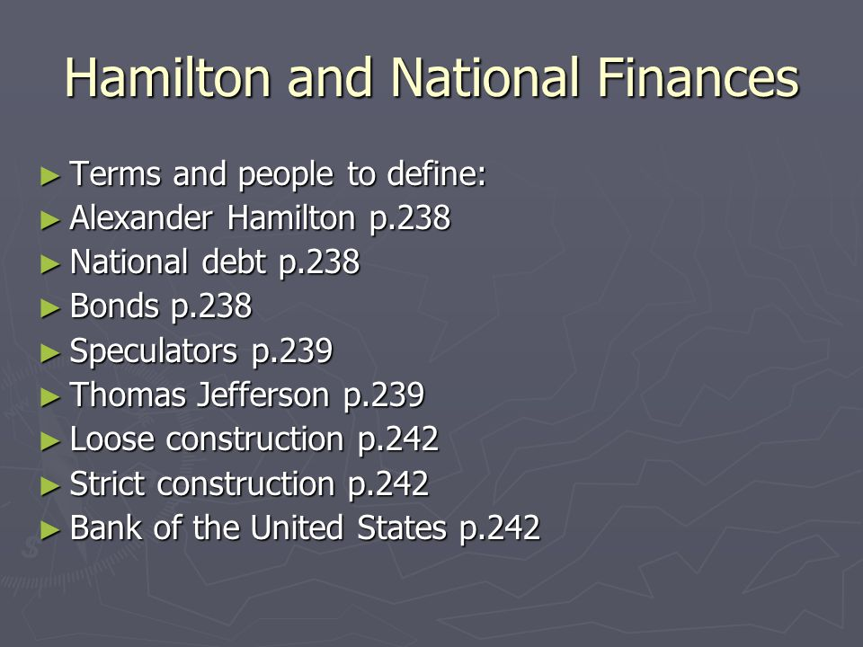 Hamilton and the National Finances ► Discovery Learning Video  Use information from video to construct chart listing our nation ' s economic problems and Hamilton ' s solutions.