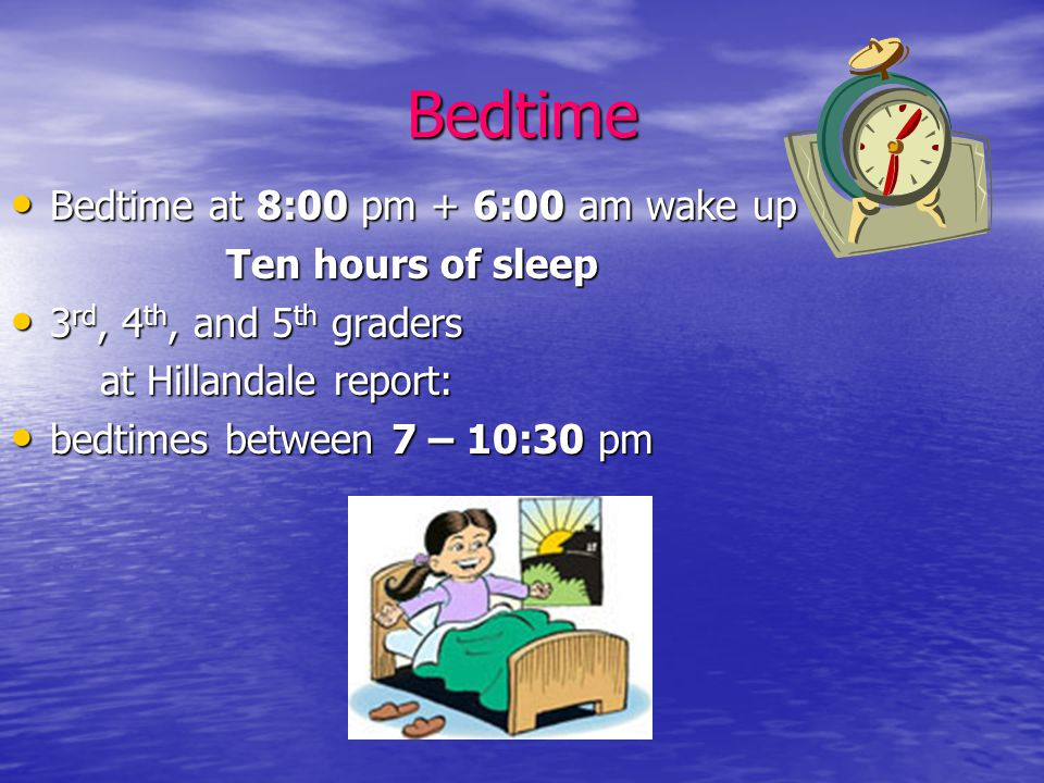 Bedtime Bedtime at 8:00 pm + 6:00 am wake up = Bedtime at 8:00 pm + 6:00 am wake up = Ten hours of sleep Ten hours of sleep 3 rd, 4 th, and 5 th graders 3 rd, 4 th, and 5 th graders at Hillandale report: at Hillandale report: bedtimes between 7 – 10:30 pm bedtimes between 7 – 10:30 pm