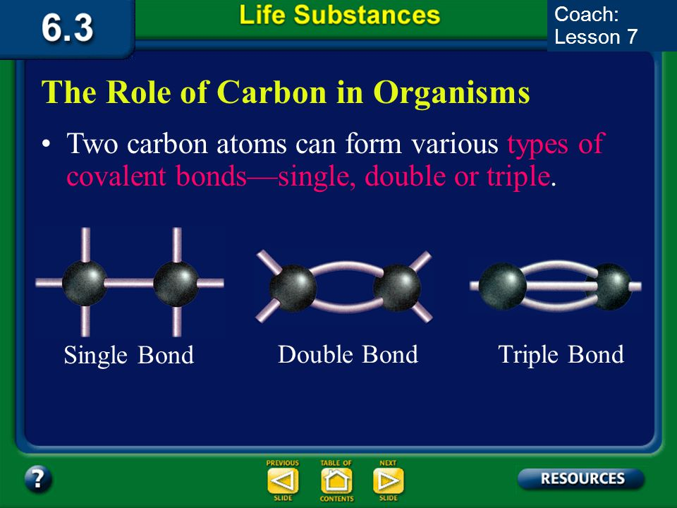 6.3 Section Summary 6.3 – pages 157-163 A carbon atom has four electrons available for bonding in its outer energy level. In order to become stable, a