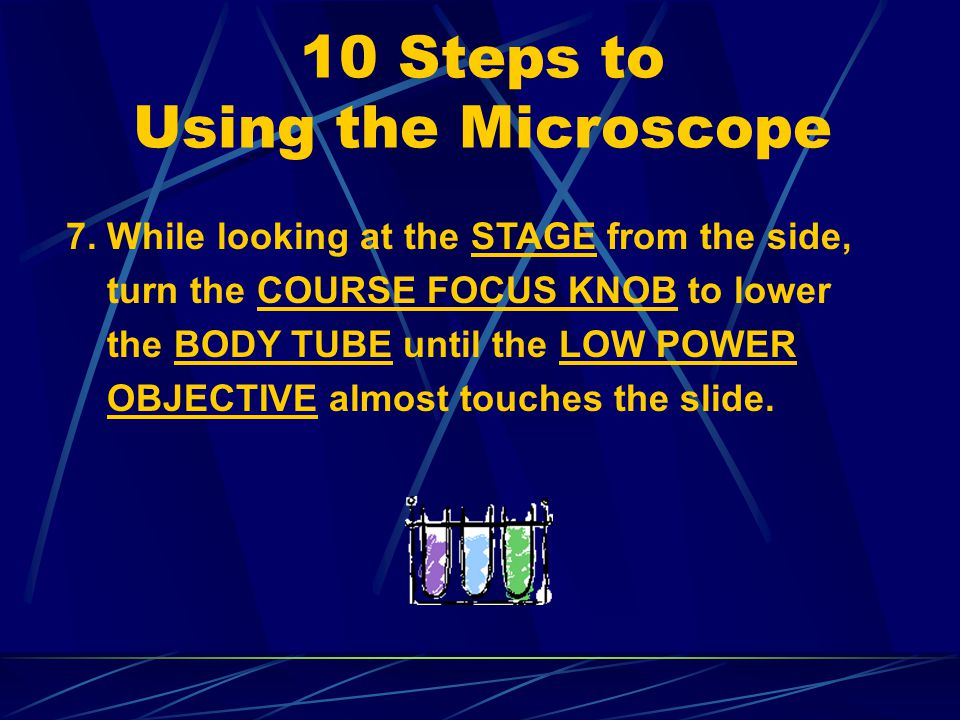 10 Steps to Using the Microscope 4. Place the slide on the STAGE. 5. Center the SPECIMEN over the small opening on the STAGE. 6. Secure the slide with