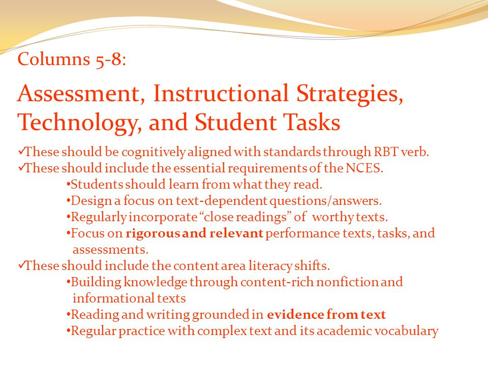 Columns 5-8: Assessment, Instructional Strategies, Technology, and Student Tasks These should be cognitively aligned with standards through RBT verb.