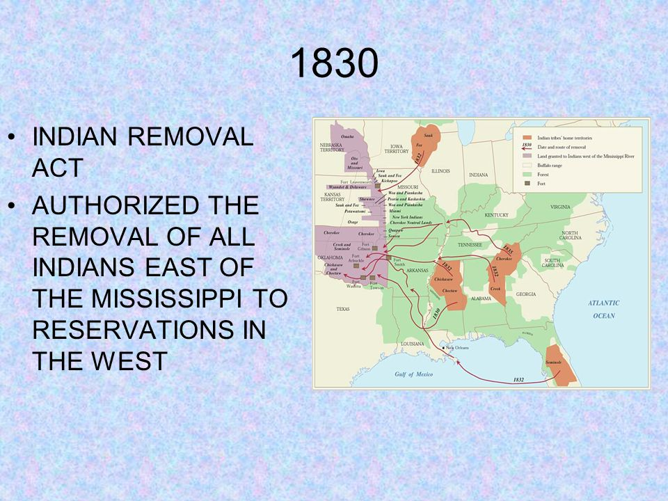 1830 INDIAN REMOVAL ACT AUTHORIZED THE REMOVAL OF ALL INDIANS EAST OF THE MISSISSIPPI TO RESERVATIONS IN THE WEST