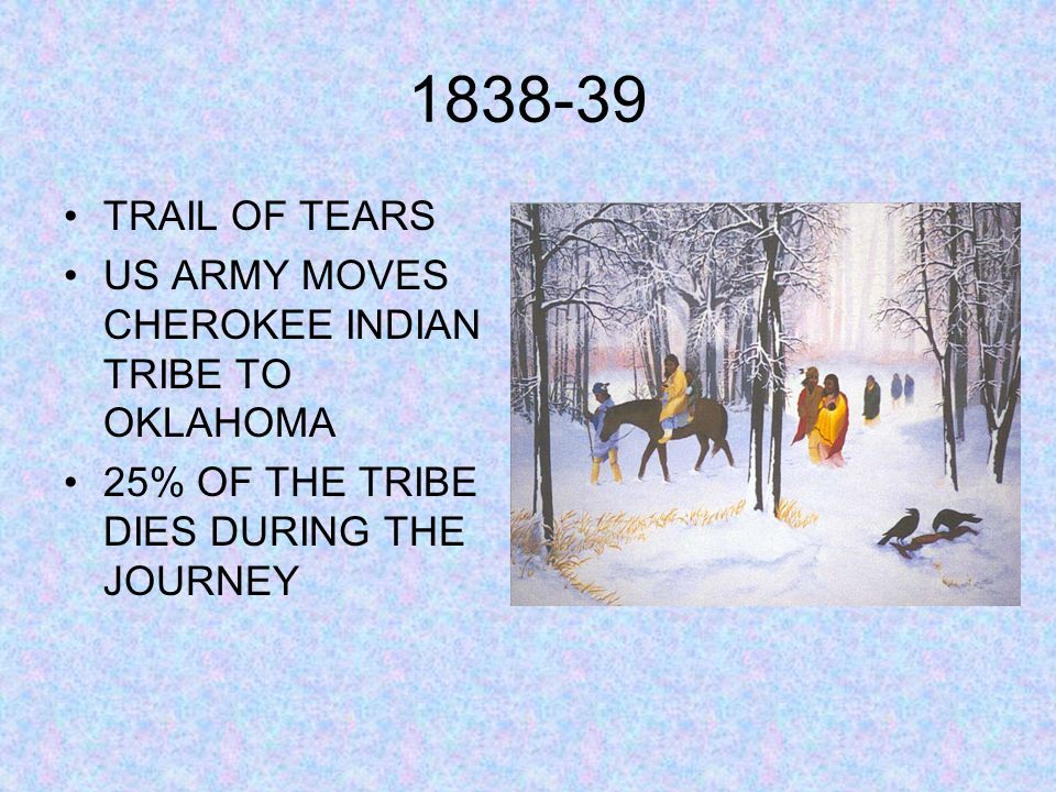 1838-39 TRAIL OF TEARS US ARMY MOVES CHEROKEE INDIAN TRIBE TO OKLAHOMA 25% OF THE TRIBE DIES DURING THE JOURNEY