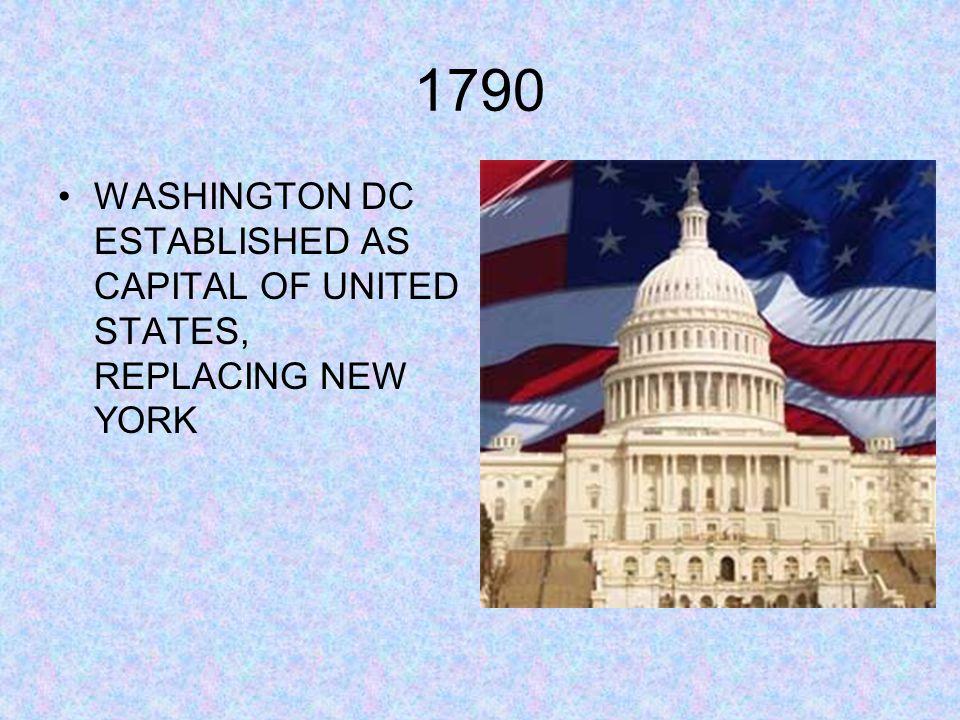 1790 WASHINGTON DC ESTABLISHED AS CAPITAL OF UNITED STATES, REPLACING NEW YORK