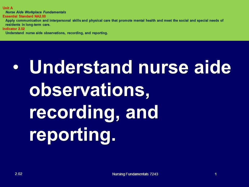 Nursing Fundamentals 724322 Written Communications: Resident's Medical Record (continued) Confidential information available only to health care workers involved in care of resident 2.02