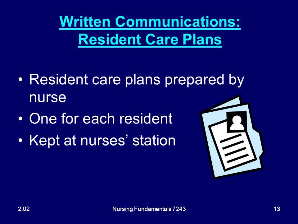 Nursing Fundamentals 724313 Written Communications: Resident Care Plans Resident care plans prepared by nurse One for each resident Kept at nurses' st