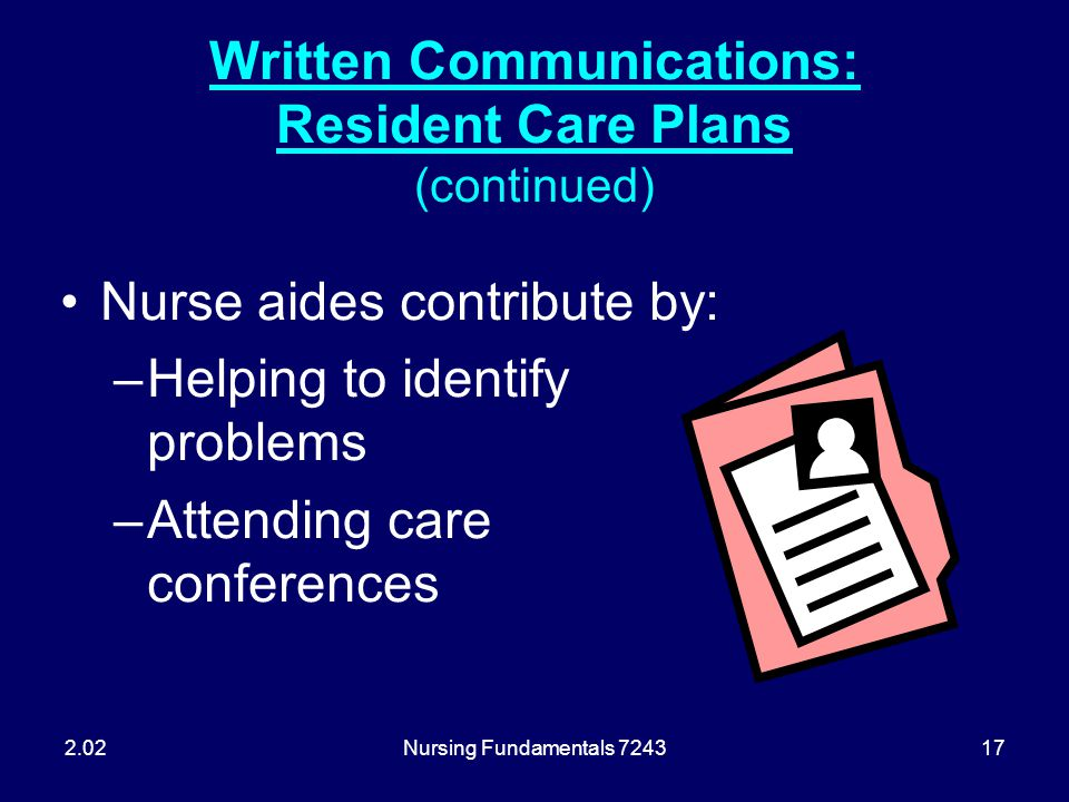 Nursing Fundamentals 724317 Written Communications: Resident Care Plans (continued) Nurse aides contribute by: –Helping to identify problems –Attendin