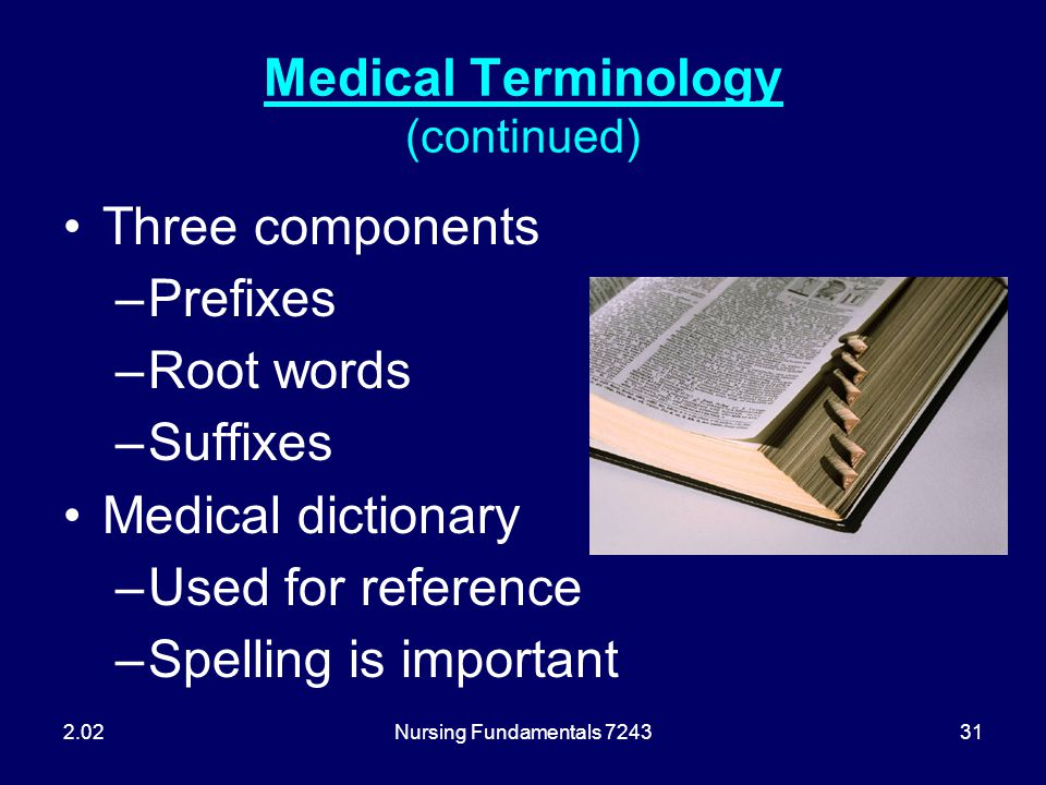 Nursing Fundamentals 724331 Medical Terminology (continued) Three components –Prefixes –Root words –Suffixes Medical dictionary –Used for reference –S