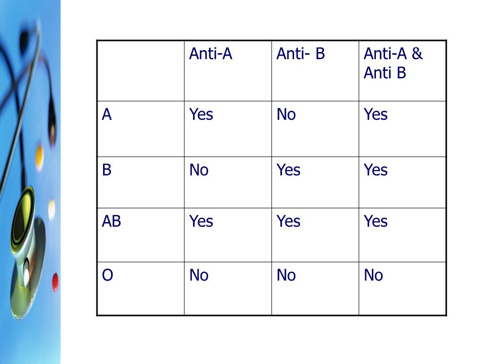 Anti-AAnti- BAnti-A & Anti B AYesNoYes BNoYes ABYes ONo