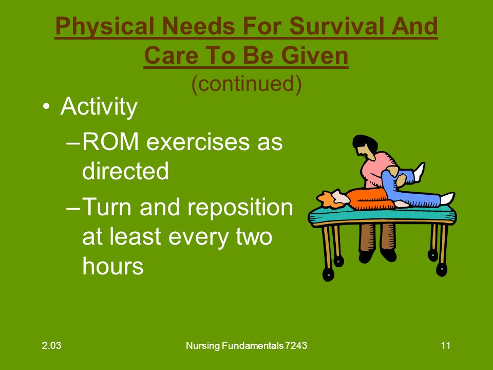 Nursing Fundamentals 724311 Physical Needs For Survival And Care To Be Given (continued) Activity –ROM exercises as directed –Turn and reposition at l