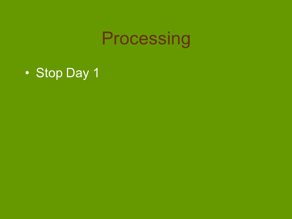 Processing Stop Day 1