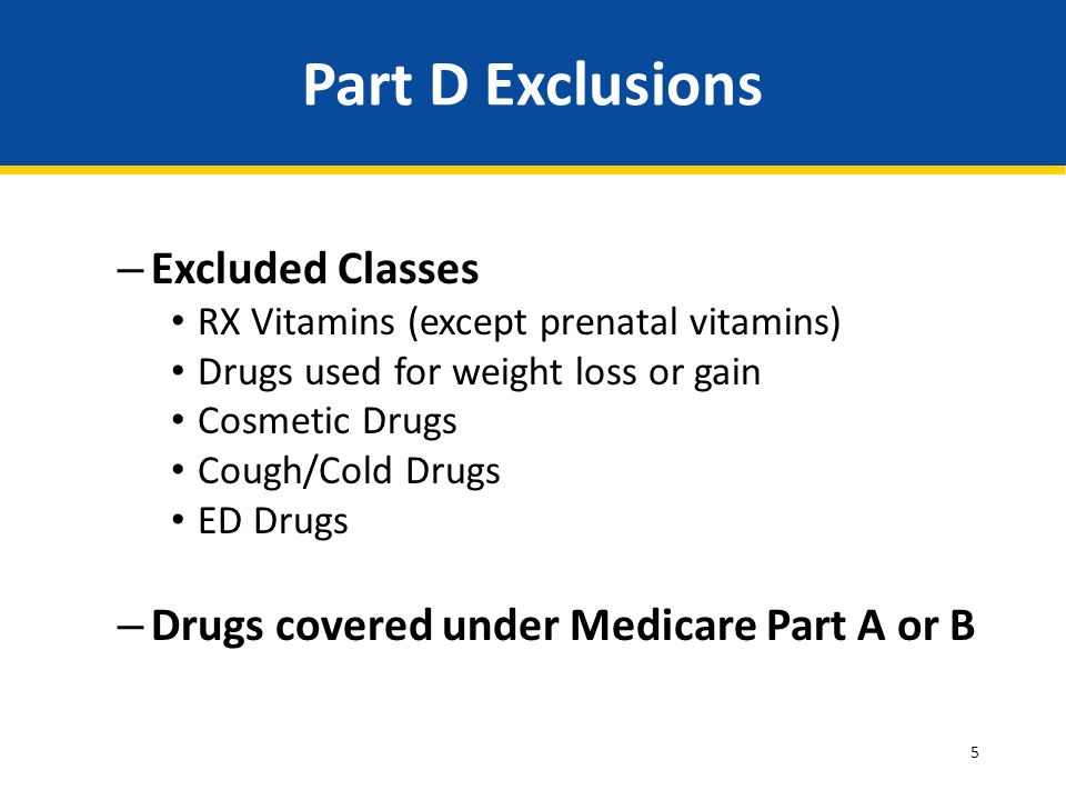 5 Part D Exclusions – Excluded Classes RX Vitamins (except prenatal vitamins) Drugs used for weight loss or gain Cosmetic Drugs Cough/Cold Drugs ED Dr