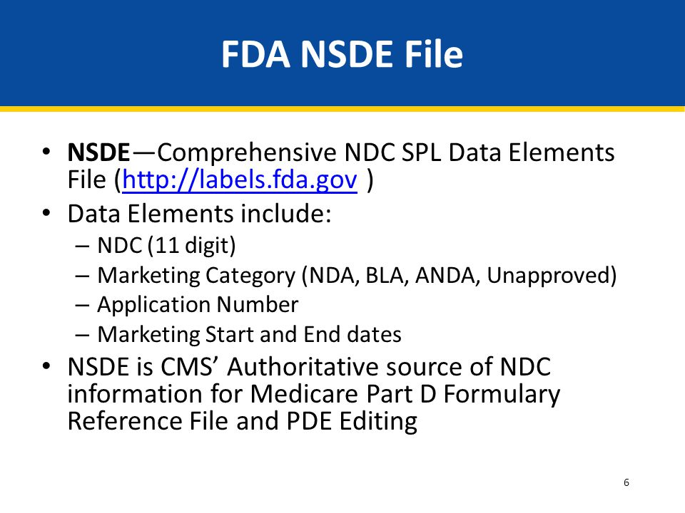 6 FDA NSDE File NSDE—Comprehensive NDC SPL Data Elements File (http://labels.fda.gov )http://labels.fda.gov Data Elements include: – NDC (11 digit) – Marketing Category (NDA, BLA, ANDA, Unapproved) – Application Number – Marketing Start and End dates NSDE is CMS' Authoritative source of NDC information for Medicare Part D Formulary Reference File and PDE Editing